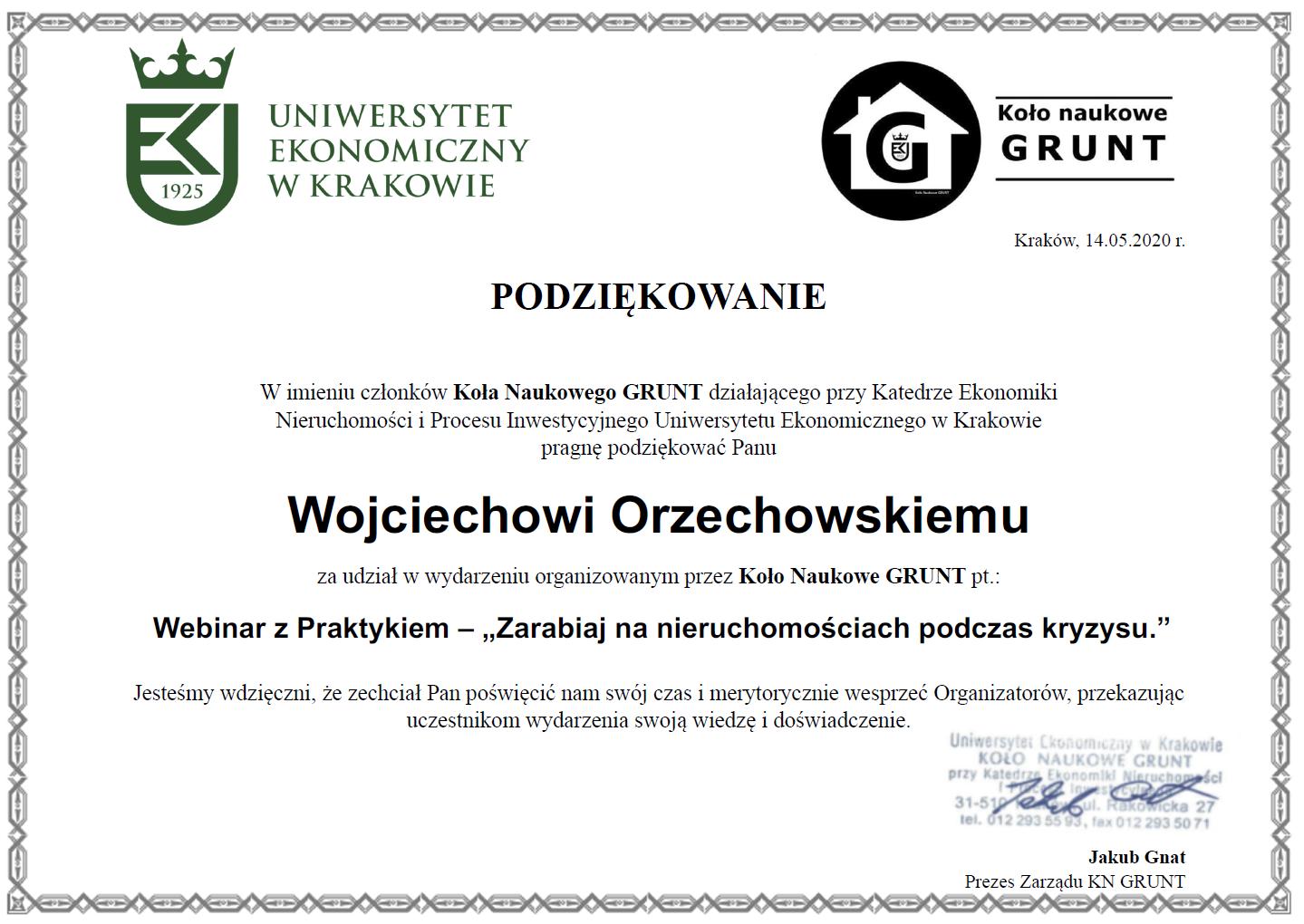Uniwersytet Ekonomiczny w Krakowie - Podziękowanie dla Wojciecha Orzechowskiego